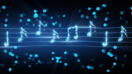 nota musical: notas musicales de fuegos artificiales. generados por computadora resumen ilustración