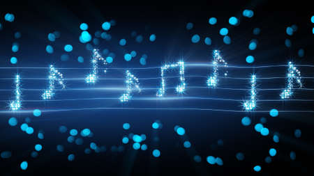 musical notes from fireworks. computer generated abstract illustration