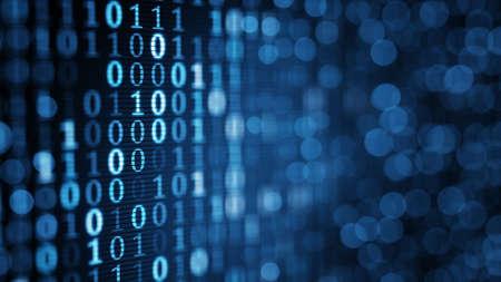 기술: 컴퓨터 화면에 파란색 디지털 바이너리 데이터. 확대해서 얕은 DOF