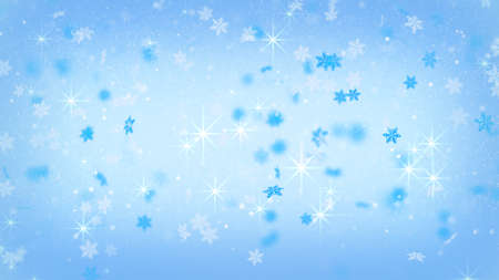 the computer generated: magic christmas snowfall on blue. computer generated background