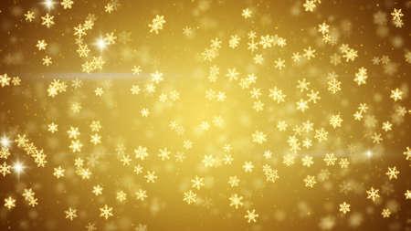 snowfall: golden christmas snowfall glowing snowflakes Stock Photo