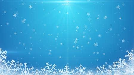 neige qui tombe: flocons de neige sur fond bleu
