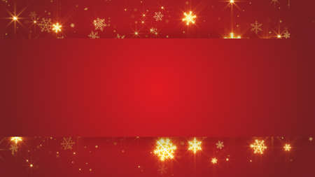 red christmas background: red banner and gold snowfall. Computer generated abstract christmas background
