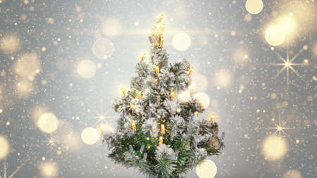 gold tree: christmas tree and gold sparkles lights holiday background Stock Photo