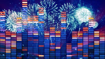 vj: music equalizer and firework party illustration