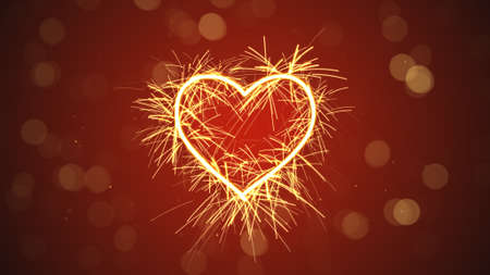 bengal fire: sparkler heart shape. Computer generated illustration Stock Photo