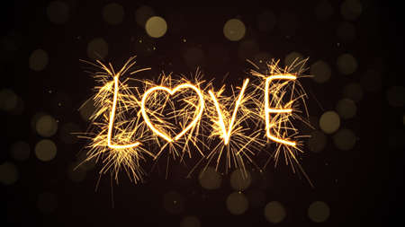 bengal fire: love text sparkler. Computer generated illustration