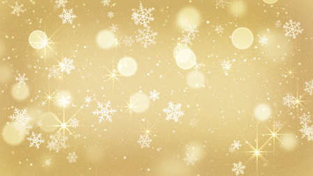 snow background: golden snowflakes and stars abstract background Stock Photo
