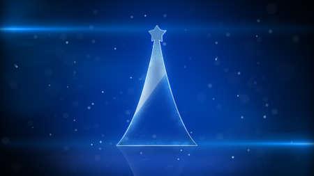 techno: christmas tree and blue light stripes. computer generated futuristic illustration