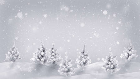 snowdrift: snow covered trees. Computer generated christmas illustration Stock Photo