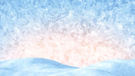winter christmas background. snow drift and frost ornament