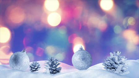 snow drift: christmas decoration on snow drift with bokeh light on background