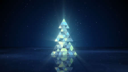 christmas tree shape of flashing triangles. computer generated graphic