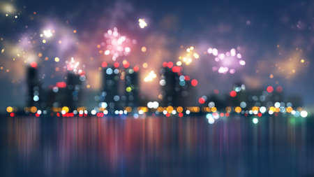 blur: blurred city and fireworks. Computer generated christmas illustration