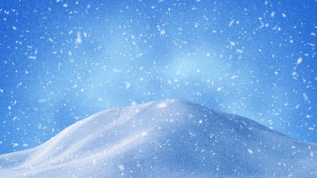 beautiful snow drifts and snowstorm. Computer generated christmas background Standard-Bild