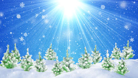 snowdrift: christmas forest and beautiful snowfall