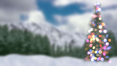 focus: blurred christmas tree and forest abstract background Stock Photo