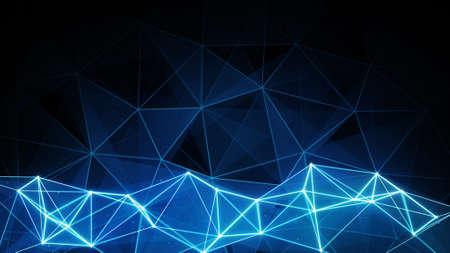 Blau Polygon Hintergrund glüht. Computer generierte abstrakte Grafik Standard-Bild - 48414717
