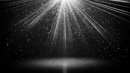cg: white light beams and particles on black. computer generated abstract background