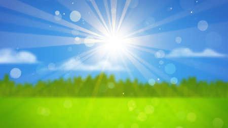 ぼやけた景色の日差し。コンピューター生成された抽象的な背景 写真素材