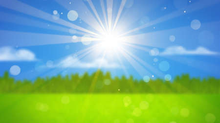 zonnestralen op onscherpe landschap. Computer gegenereerde abstracte achtergrond