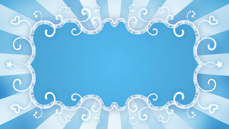 curle: glowing blue blank banner. Computer generated abstract background