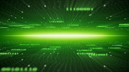 green binary cyberspace. computer generated abstract background
