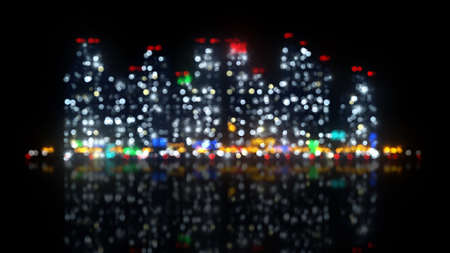 night view: big night city out of focus. computer generated abstract illustration