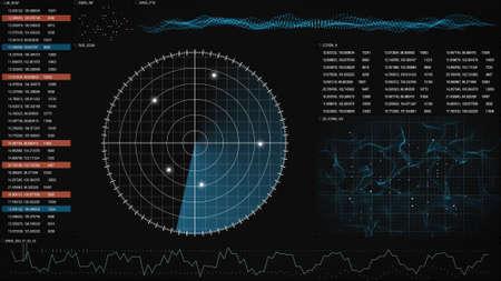 radar GUI screen. computer generated graphic
