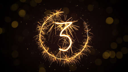 countdown: new year sparkler countdown. computer generated graphic