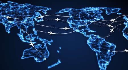 telecommunication: airplanes on world map. computer generated illustration Stock Photo