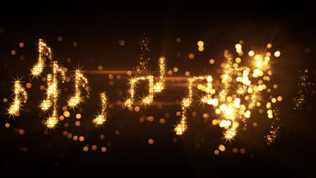 glittering music notes and fireworks. computer generated abstract illustration Stok Fotoğraf