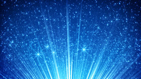 the computer generated: sparkling particles in blue light rays. computer generated abstract background Stock Photo