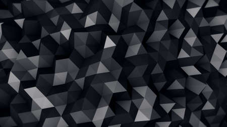 low relief: black polygonal surface. computer generated abstract 3D render