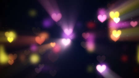 lightbeam: shining heart shapes. computer generated abstract background