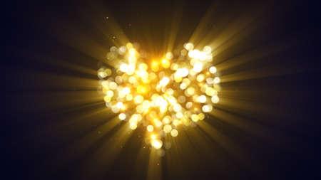 ゴールド輝くハート。コンピューター生成された抽象的な背景