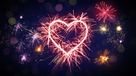 love blast: sparkler heart shape and fireworks. Computer generated festive background