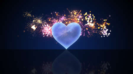 pyro: glass heart shape and fireworks. Computer generated festive illustration Stock Photo