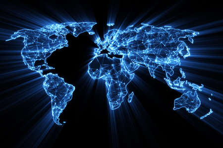 glowing blue worldwide web on world map concept Banco de Imagens