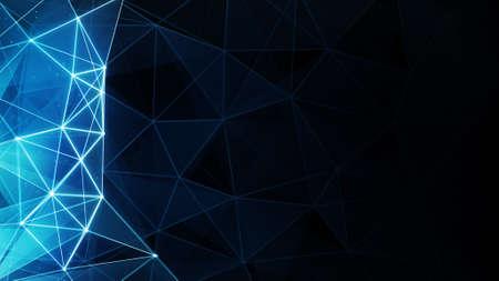 輝く青のポリゴン背景。コンピューター生成された抽象的なグラフィック
