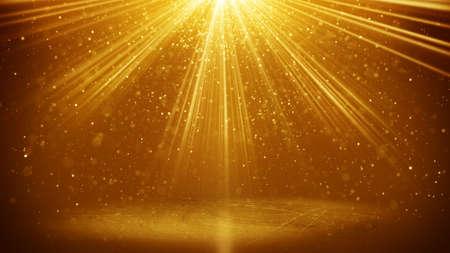 Oro haces de luz y partículas. generado por ordenador resumen de antecedentes Foto de archivo - 51785676
