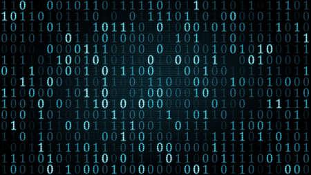 青いデジタル バイナリのシンボル。コンピューターが生成した図