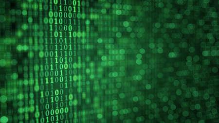 dof: green digital binary data close-up shallow DOF. Computer generated illustration