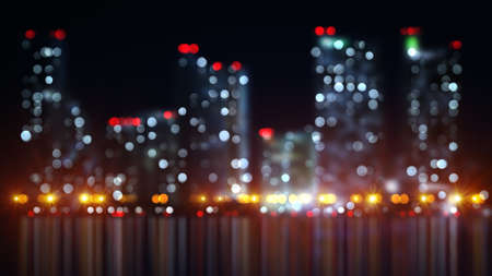 blur: blurred lights of night city with reflection. computer generated abstract illustration Stock Photo