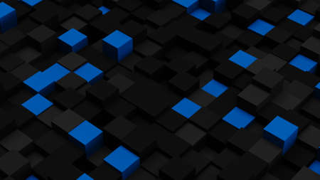 the computer generated: Blue and black 3D boxes. Computer generated abstract background