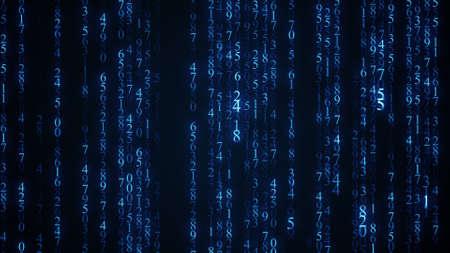 Blue digital matrix rain. Abstract background Standard-Bild