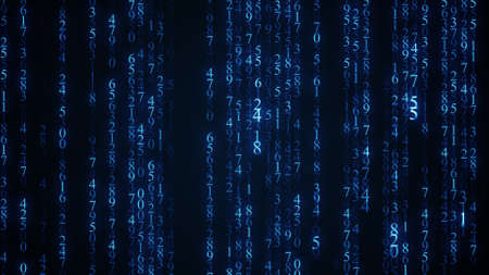 Blauwe digitale matrix regen. achtergrond
