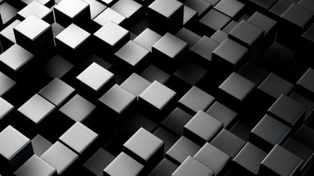 computer generated: High contrast metallic 3D boxes. Computer generated abstract background Stock Photo