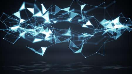 tecnología informatica: Tecnología de red de forma poligonal. Generado por ordenador resumen de antecedentes Foto de archivo