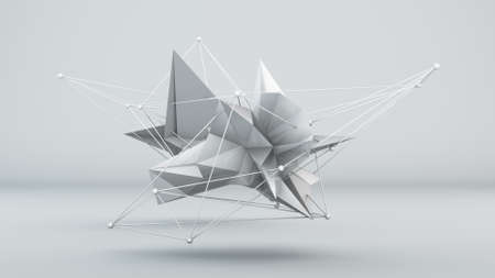 slow motion: Futuristic white 3D shape in studio. Abstract render Stock Photo